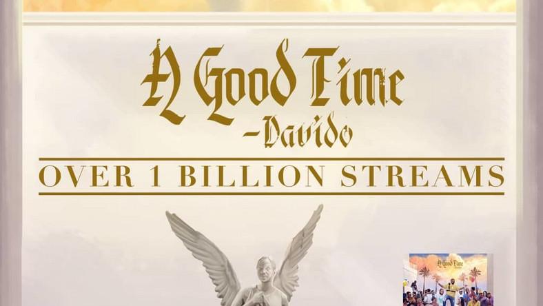 Davido's 'A Good Time' hits a billion streams on all platforms, (Sony)