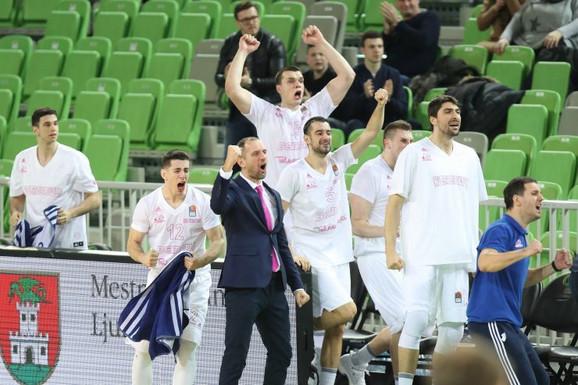 Slavlje košarkaša Mege u Ljubljani