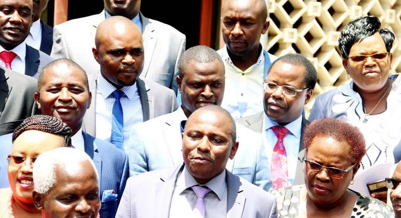 Kandara MP Alice Wahome (Front row, left) with other Jubilee party lawmakers allied to the Tangatanga outfit that supports DP Ruto's 2022 presidential bid