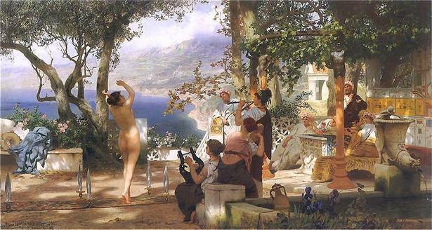 """Obraz """"Taniec wśród mieczów"""" Henryka Siemiradzkiego (1881)"""