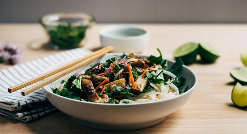 Rice Noodle Salad with Spring Vegetables and Tahini