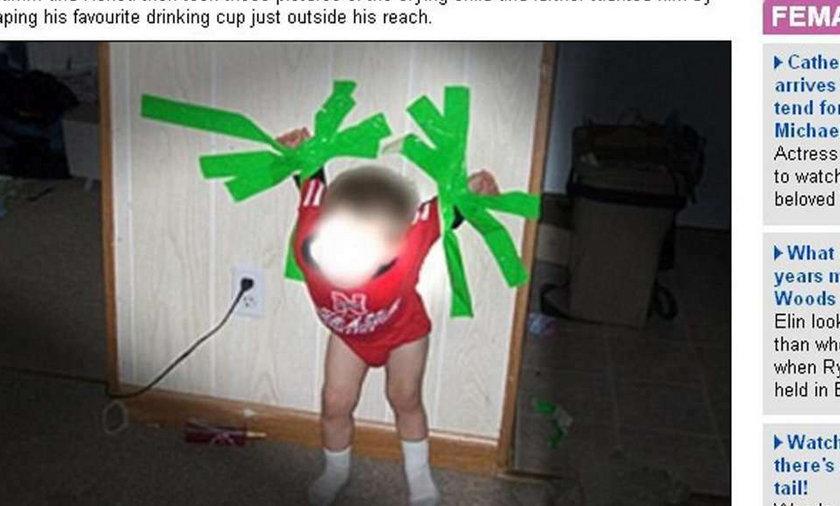 HORROR! Matka przykleiła dziecko do ściany