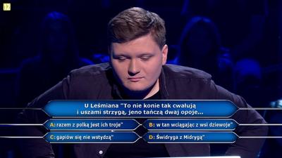 """""""Milionerzy"""" – padło pytanie o cytat z Leśmiana. Rafał nie znał odpowiedzi!"""