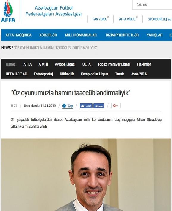 Obradović predstavljen i na sajtu FS Azerbejdžana