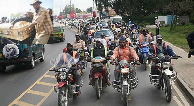 A convoy of boda bodas and cars escorts the body of businessman Fai Amario for burial in Naivasha in 2010 (photo courtesy of Nation)