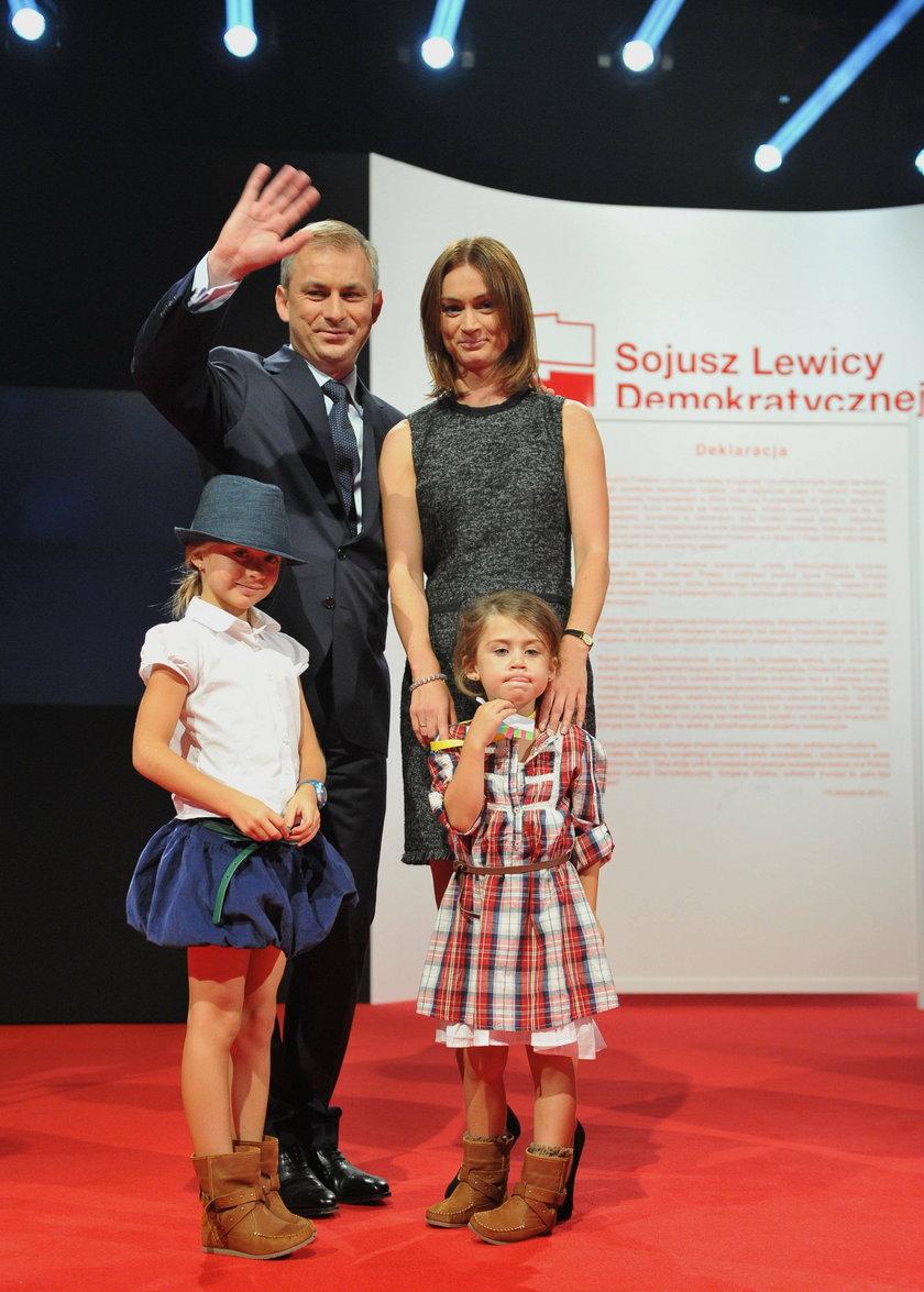 Grzegorz Napieralski z żoną Małgorzatą i dziećmi