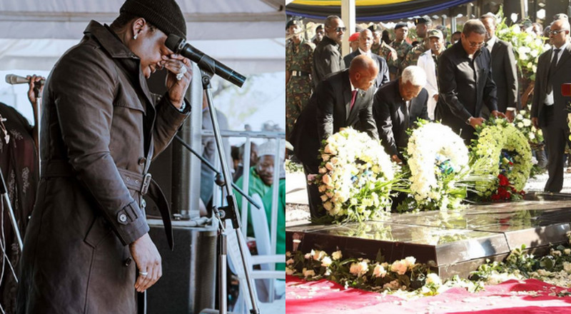 Mixed reactions over Harmonize's emotional performance at Mkapa's funeral (Video)