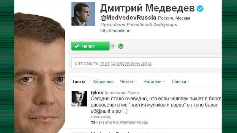 """""""Zabłąkany"""" wpis na twitterowym koncie Dmitrija Miedwiediewa"""