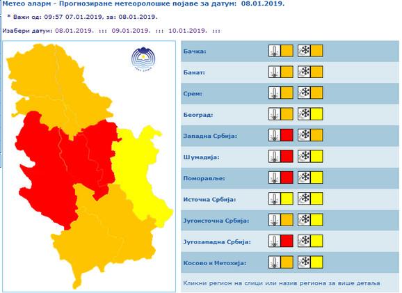 Crveni meteoalarm zbog izuzetno niskih temperatura