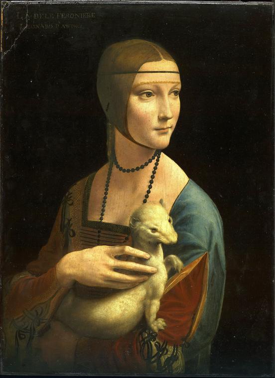 Gdy obraz trafił do Polski, został najprawdopodobniej pokryty warstwami ciemnej farby, które przysłoniły pierwotne otoczenie Cecili