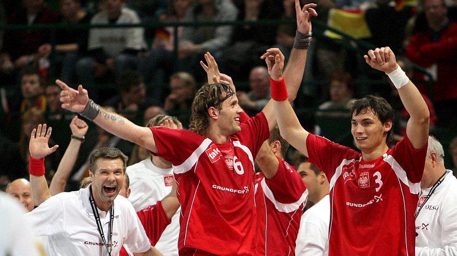 Bogdan Wenta, Krzysztof Lijewski i Grzegorz Tkaczyk podczas MŚ 2007