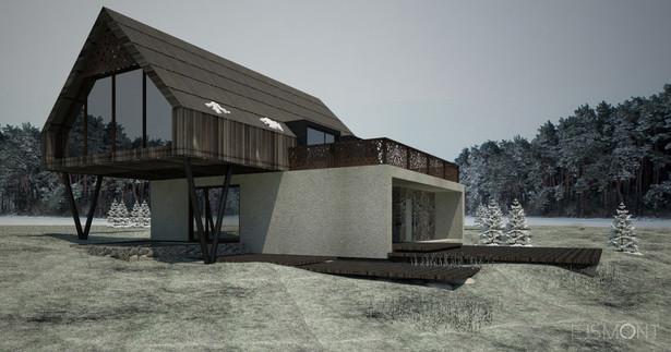 Dom letniskowy: drewno i beton - projekt Ejsmont
