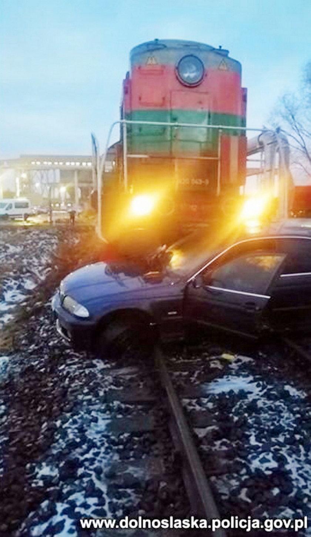 Zderzenie pociągu z samochodem osobowym