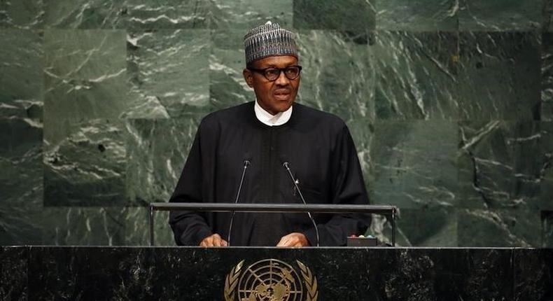 Nigeria's President Muhammadu Buhari addresses a plenary meeting of the United Nations Sustainable Development Summit 2015 at the United Nations headquarters in Manhattan, New York September 25, 2015.    REUTERS/Andrew Kelly