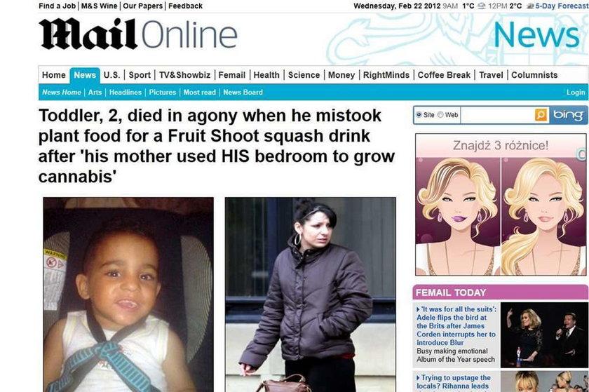 Dwulatek zginął w mękach. Spalił się od środka