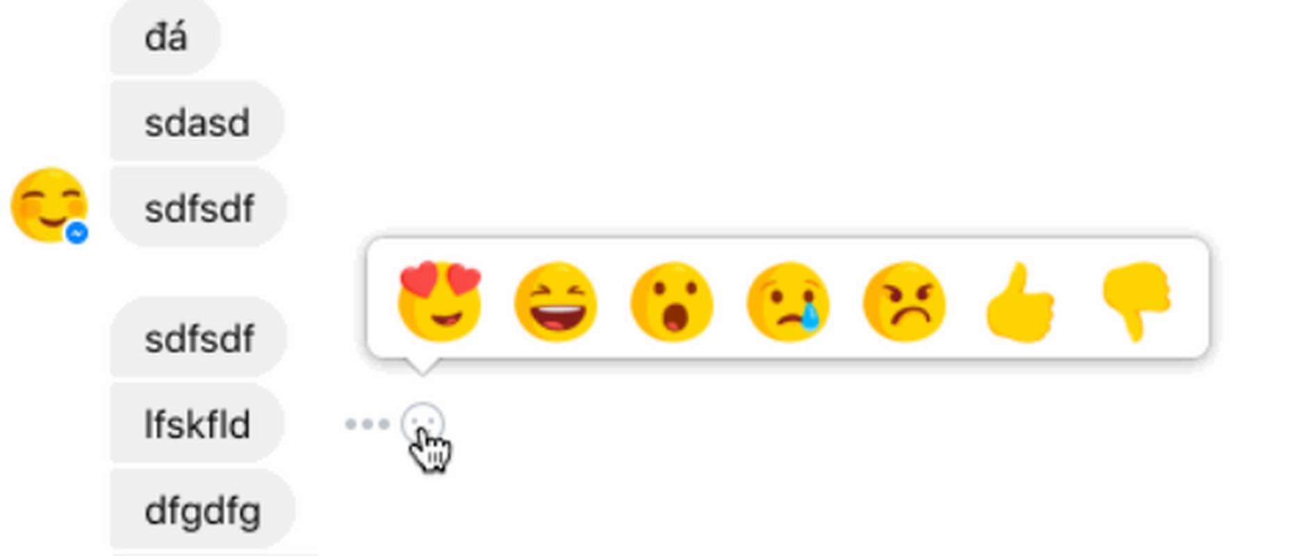 Emotikony reakcji na Messengerze