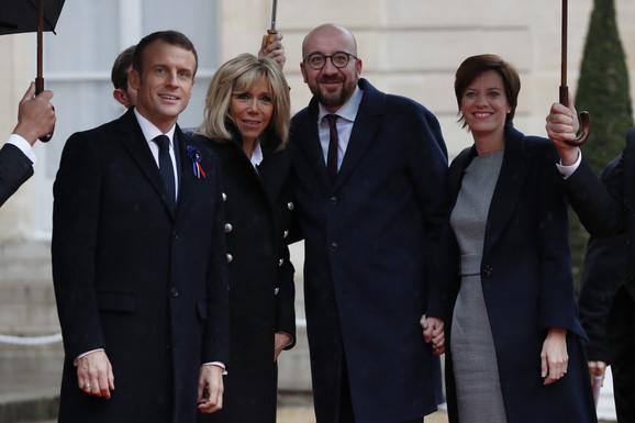 Francuski predsednički par sa premijerom Belgije, Šarl Mišelom i suprugom