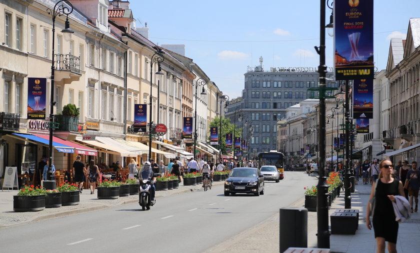 Drogie ulice w Warszawie.