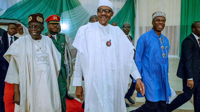 President Muhammadu Buhari (centre) won the 2019 presidential election with Minister of Transportation, Rotimi Amaechi (right) as the Director General of his campaign and APC National Leader, Bola Tinubu (left) as the co-chairman of his campaign council [Facebook/Femi Adesina]