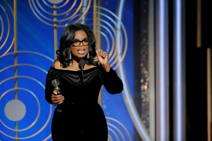 Oprah Winfrey speaks after accepting the Cecil B. Demille Award at the 75th Golden Globe Awards in B