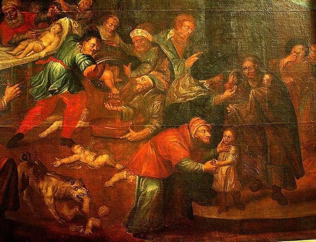 Sandomierz, obraz Karola de Prevot z katedry przedstawiający rzekomy mord rytualny