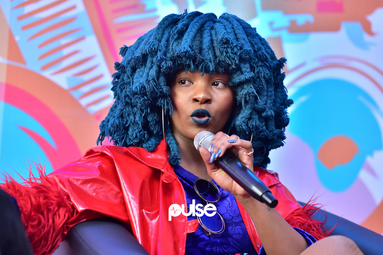The lively Moonchild Sanelly, speaking at the ECHO Music conference 2019. (Pulse Nigeria)