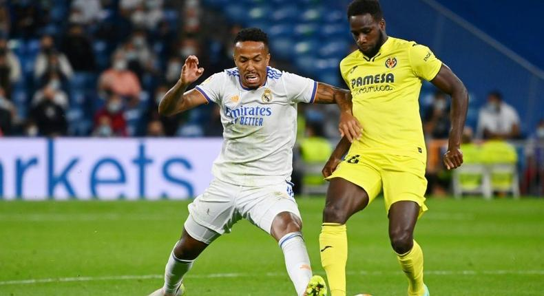 Brazilian defender Eder Militao (left) joined Real Madrid one year after leaving Sao Paulo for Porto. Creator: GABRIEL BOUYS