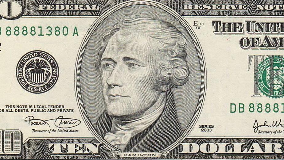 Alexander Hamilton na awersie banknotu dziesięciodolarowego, domena publiczna