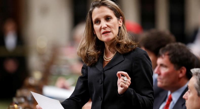 Canada's Foreign Affairs Minister Chrystia Freeland delivers a speech on Canada's foreign policy in the House of Commons on Parliament Hill in Ottawa, Ontario, Canada June 6, 2017.