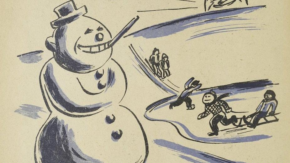 Ilustracja z opowiadania Bałwan ze śniegu, Łódź 1947