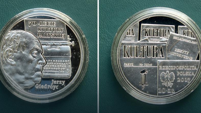 """Rewers i awers monety """"70-lecie Kultury Paryskiej"""""""