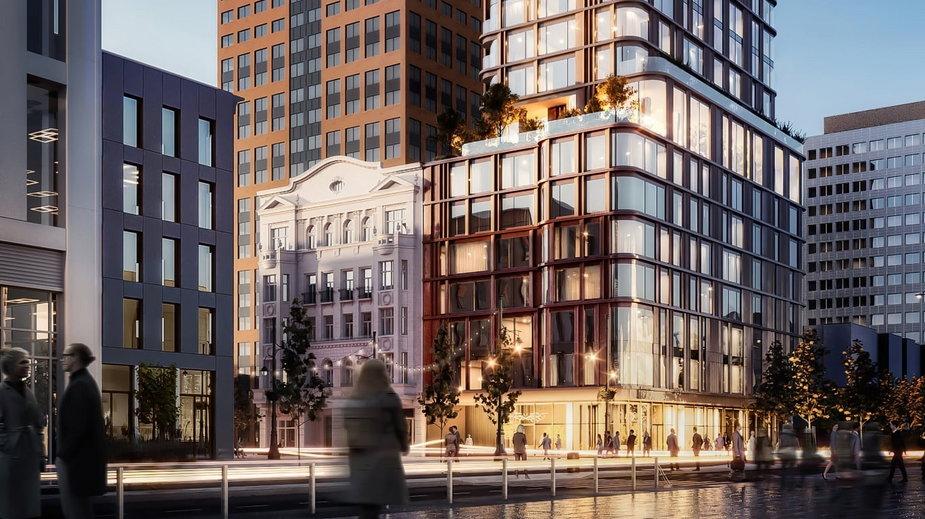 Tak może wyglądać nowy budynek na rogu ulicy Piotrkowskiej i alei Mickiewicza w Łodzi