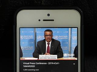 BEIJING, March 17, 2020 Photo taken in Brussels of Belgium on March 16, 2020 shows World Health Organization (WHO) Director-General Tedros Adhanom Ghebreyesus speaking at a virtual press conference held in Geneva, Switzerland.. More cases and deaths of COVID-19 have now been reported in the rest of the world than in China, the chief of the WHO said here on Monday, noting that a rapid escalation of the coronavirus cases has been seen in the past week. (Credit Image: © Zheng Huansong/Xinhua via ZUMA Wire)