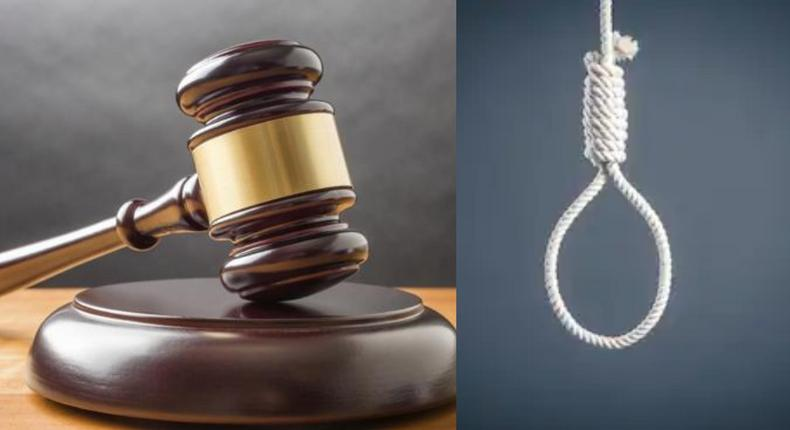 Court sentences man to death by hanging for slitting his wife's throat.