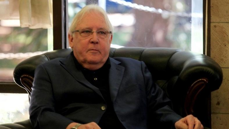 United Nations special envoy for Yemen Martin Griffiths is pictured upon arrival at Sanaa airport