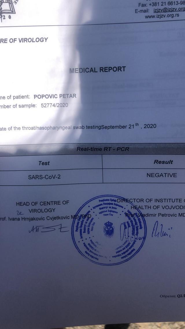 Negativan nalaz testiranja Petra Popovića na novi korona virus