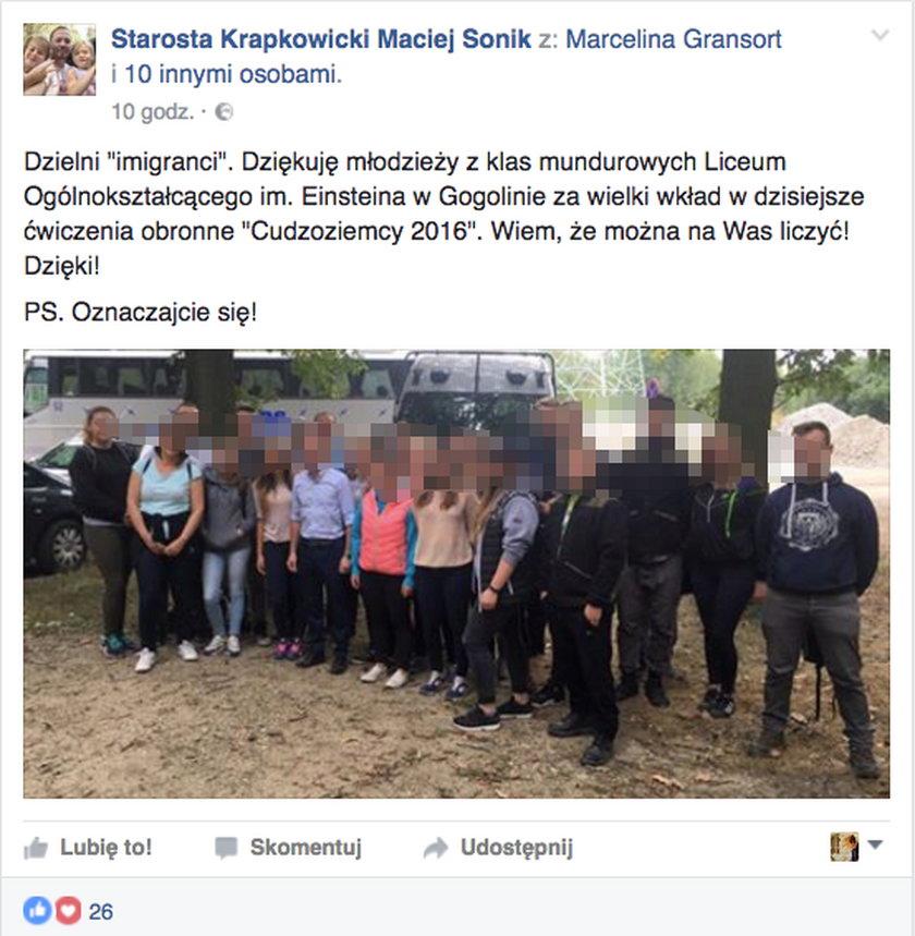 Kazali uczniom udawać uchodźców. Ganiali po lesie jak przestępców