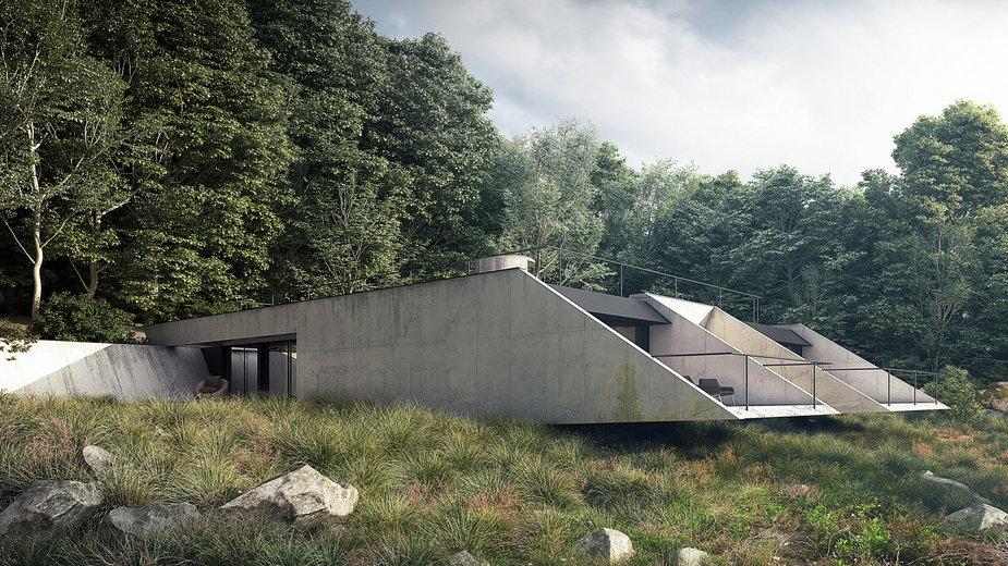 Betonowy dom w Bieszczadach