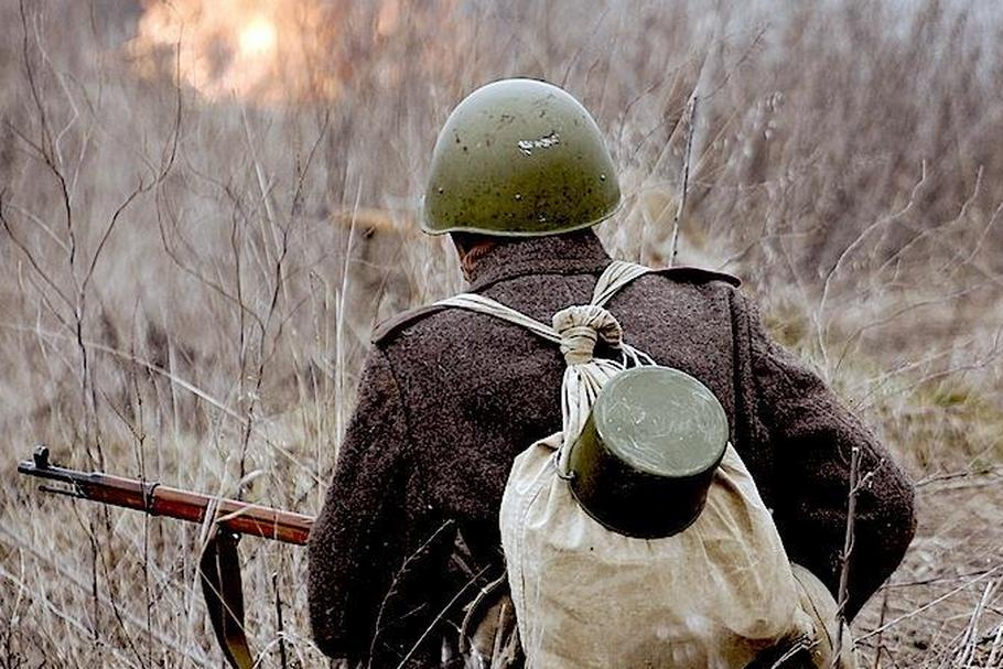 Soviet soldier of WW2. Reenacting. Kiev,Ukraine