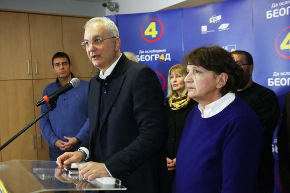 Dragan Šutanovac i Vesna Rakić Vodinelić u izbornoj noći nakon saopštavanja rezultata
