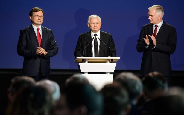 Zbigniew Ziobro, Jarosław Kaczyński i Jarosław Gowin PAP/Jakub Kamiński