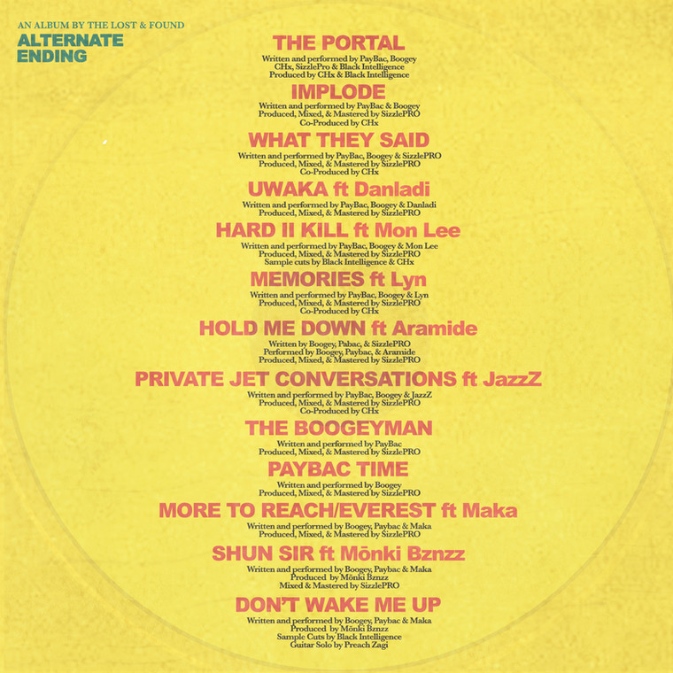 The track list and credits for 'Alternate Ending' by The Lost and Found (Boogey and Paybac). (The Lost and Found)