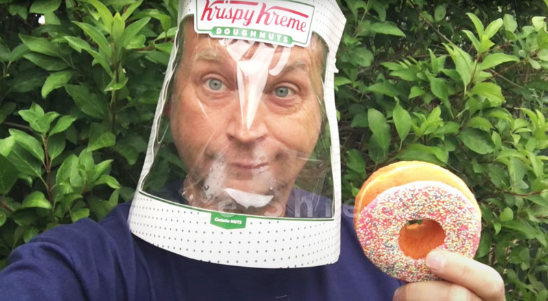 You Can Make a Coronavirus Face Shield in 2 Minutes Using a Krispy Kreme Box