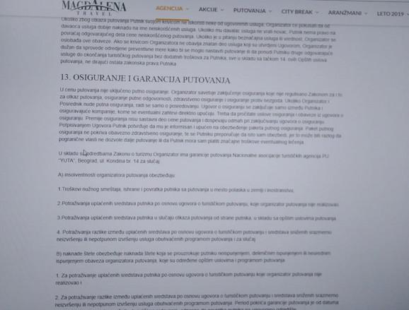 Dokaz da se Magdalena pozivala na JUTA, što je uklonjeno sa sajta