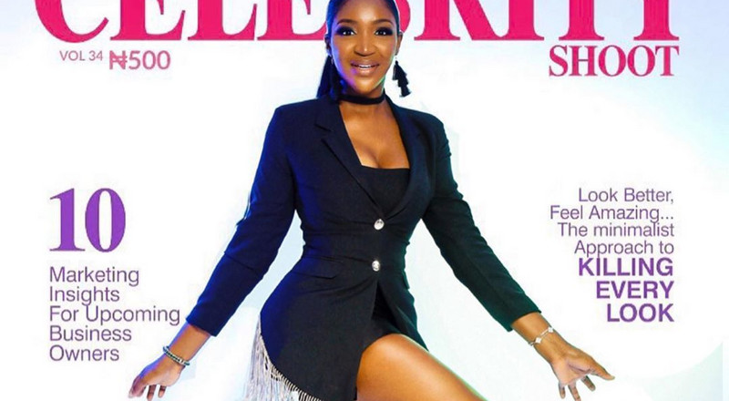 Idia Aisien serves boss chic look on the cover of The Celebrity Shoot Magazine's latest issue