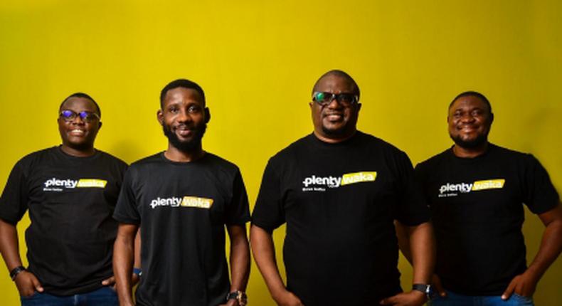 Left- Right, Co-founders of Plentywaka including CEO Onyeka Akumah, VP Product Development, Afolabi Oluseyi, President Johnny Ena, VP Customer Engagement, Shaibu John