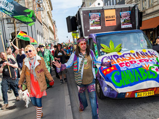 Participants march during the Global Cannabis March in Copenhagen
