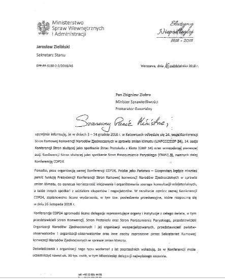 Pismo wiceministra Zielińskiego do Zbigniewa Ziobry cz.1