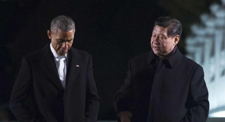US President Obama and Chinese President Xi Jinping talking at a previous meeting