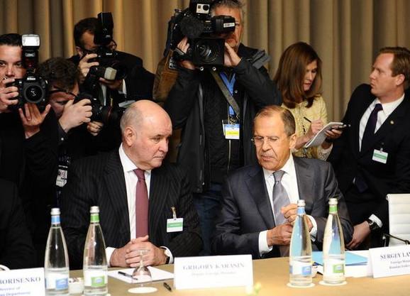 Grigorij Karasin i Sergej Lavrov na sastanku u Ženevi